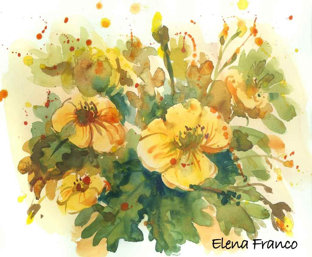 """Ramo de flores"". Acuarela sobre papel. 2012"